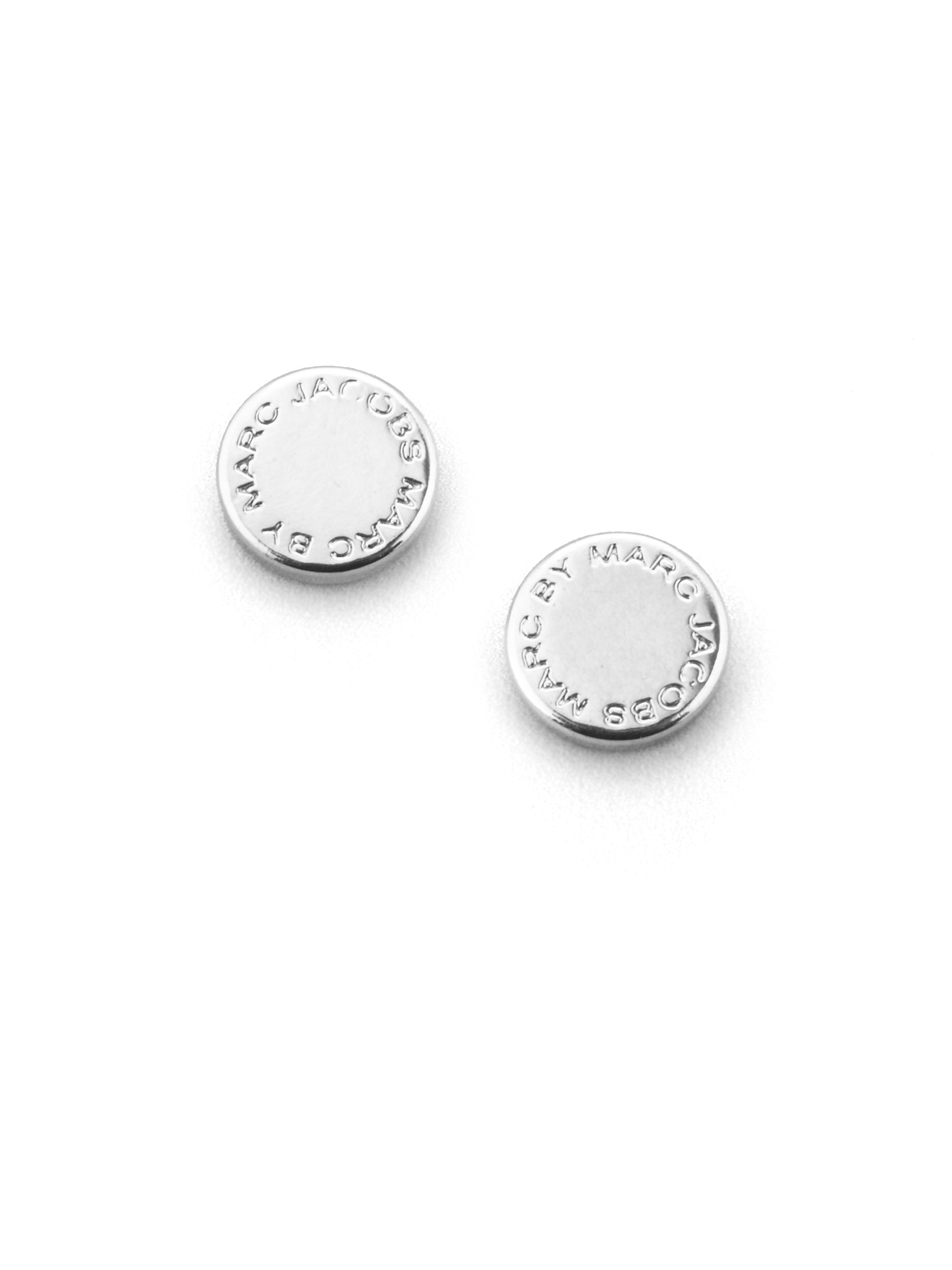 Silver And Black Logo Stud Earrings Marc Jacobs Bgjhq