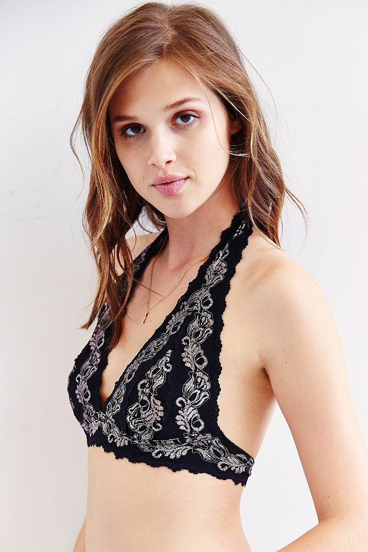 ad76d534ccce0 Lyst - Pins And Needles 2-Tone Lace Halter Bra in Black