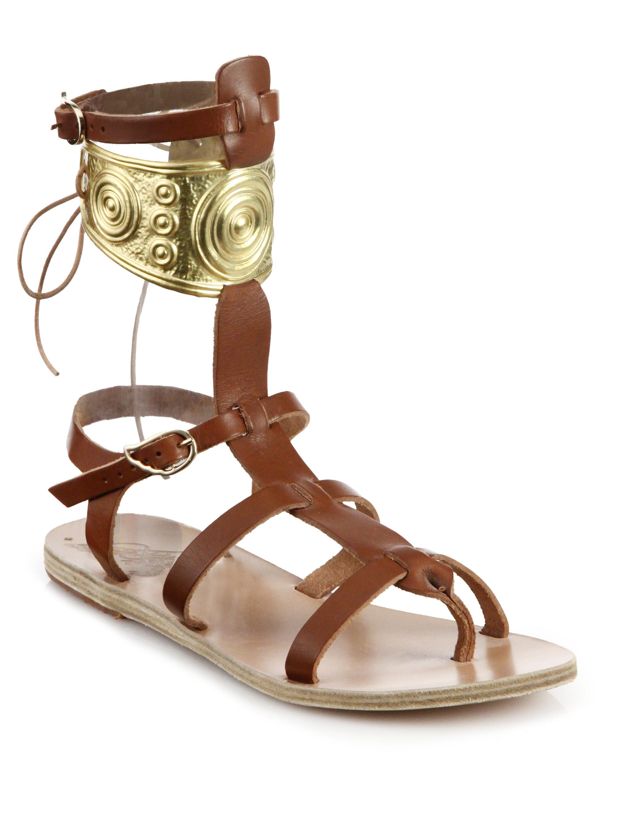 Anciennes Sandales Grecques Sandales Gladiator - Métallique yfzLO