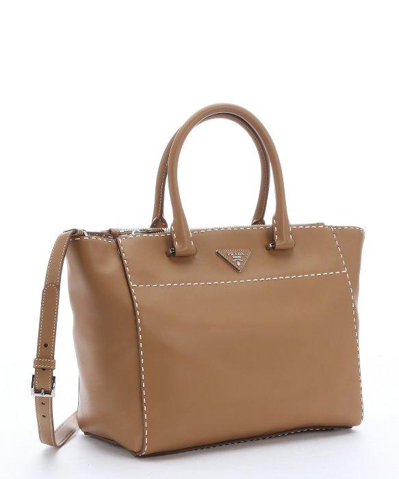 prda handbags - Prada Brown Calfskin Topstitched Tote Bag in Brown | Lyst