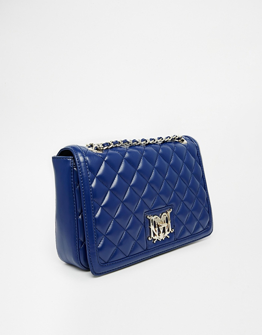 3fcb989e24 Lyst - Love Moschino Patent Quilted Chain Strap Bag in Blue