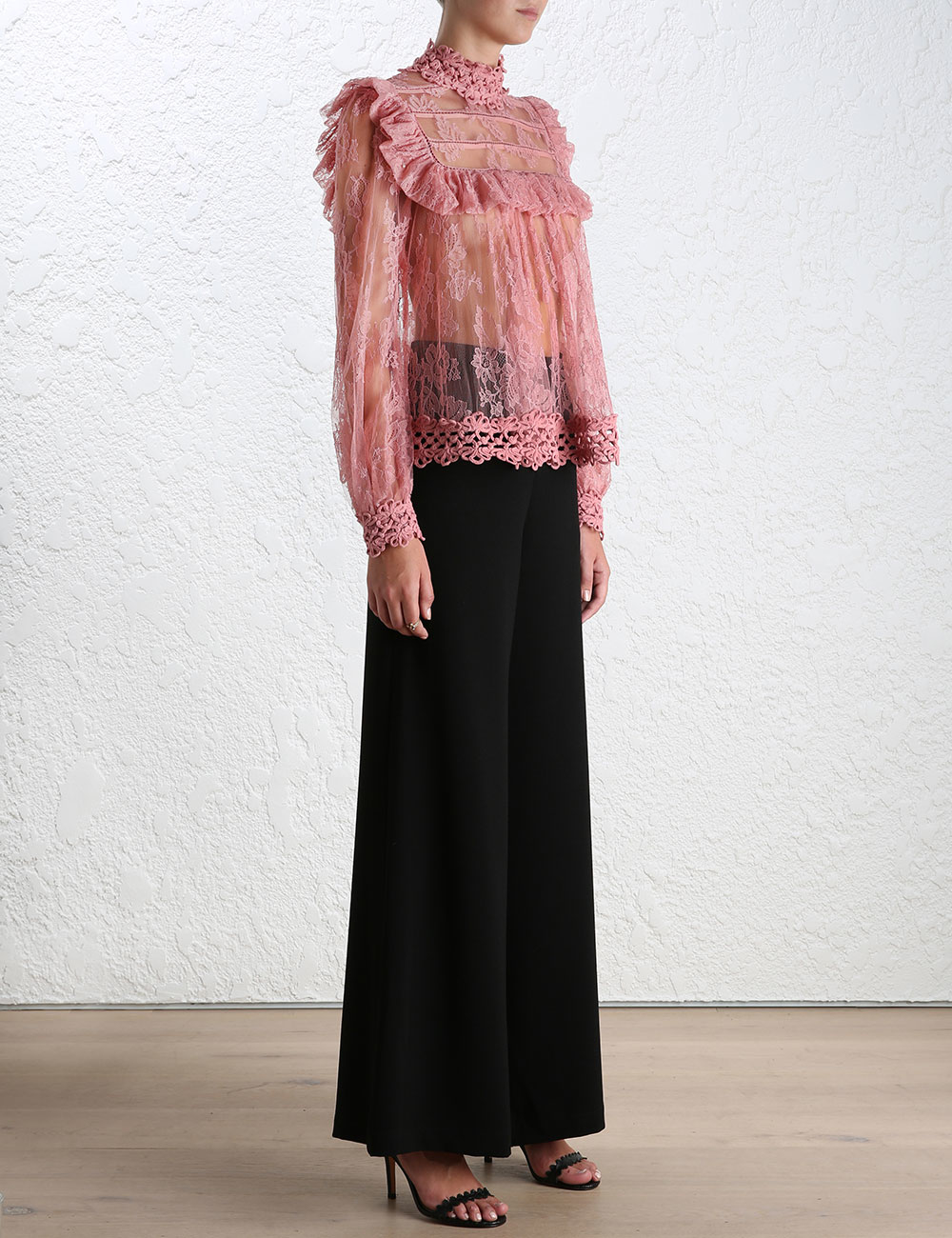 797b1628a3a74b Zimmermann Mischief Peony Lace Blouse in Pink - Lyst