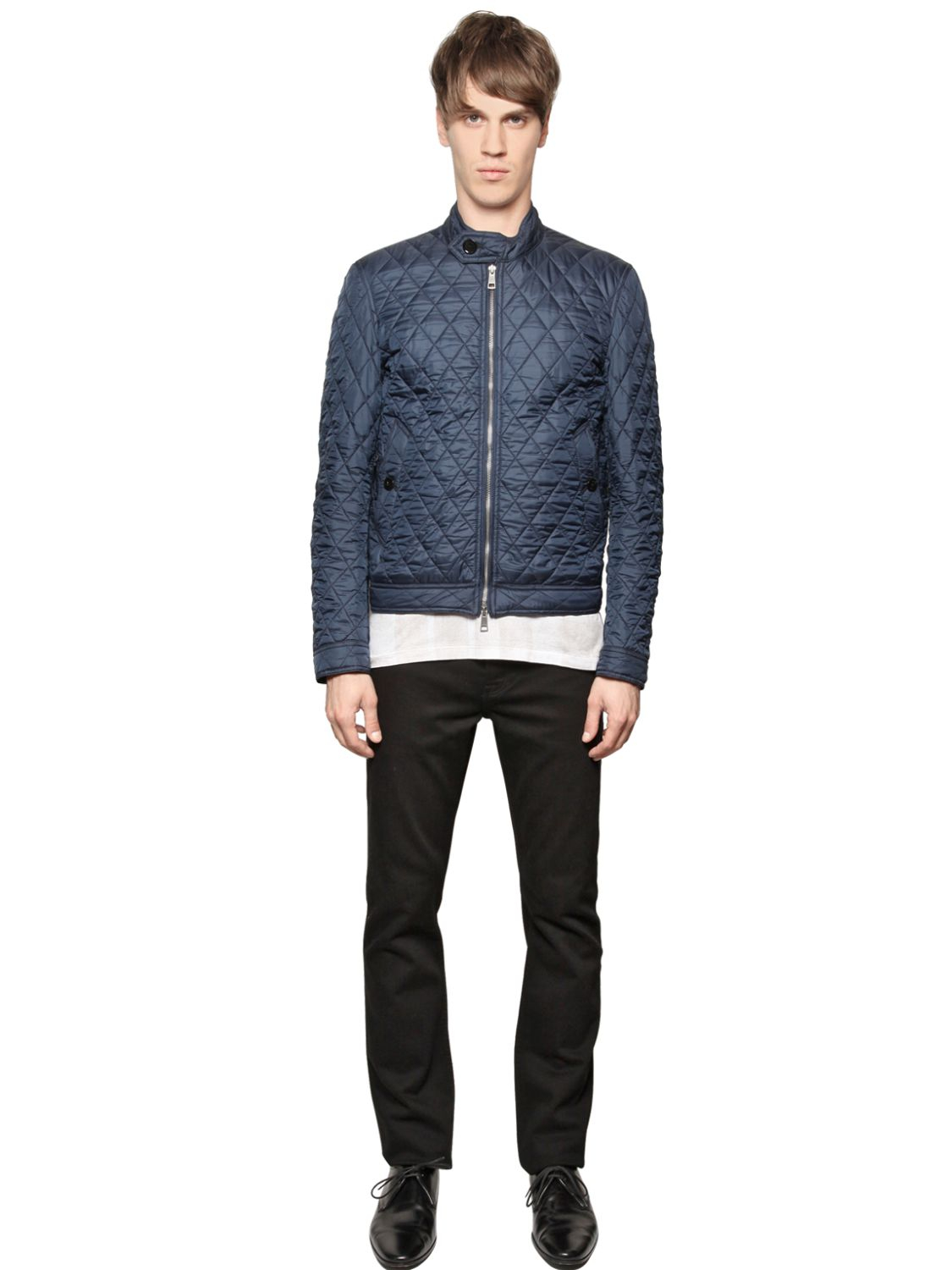 Lyst Burberry Brit Quilted Nylon Bomber Jacket In Blue