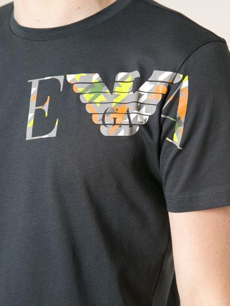 emporio armani logo print t shirt in black for men lyst. Black Bedroom Furniture Sets. Home Design Ideas