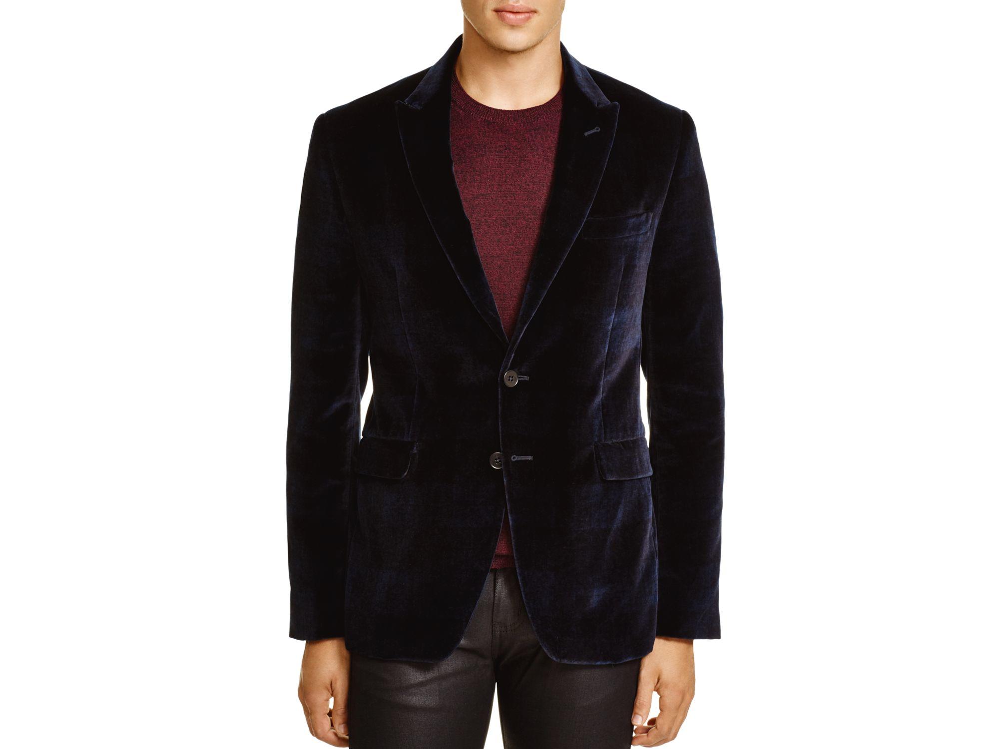 paul smith velvet slim fit blazer in blue for men lyst. Black Bedroom Furniture Sets. Home Design Ideas