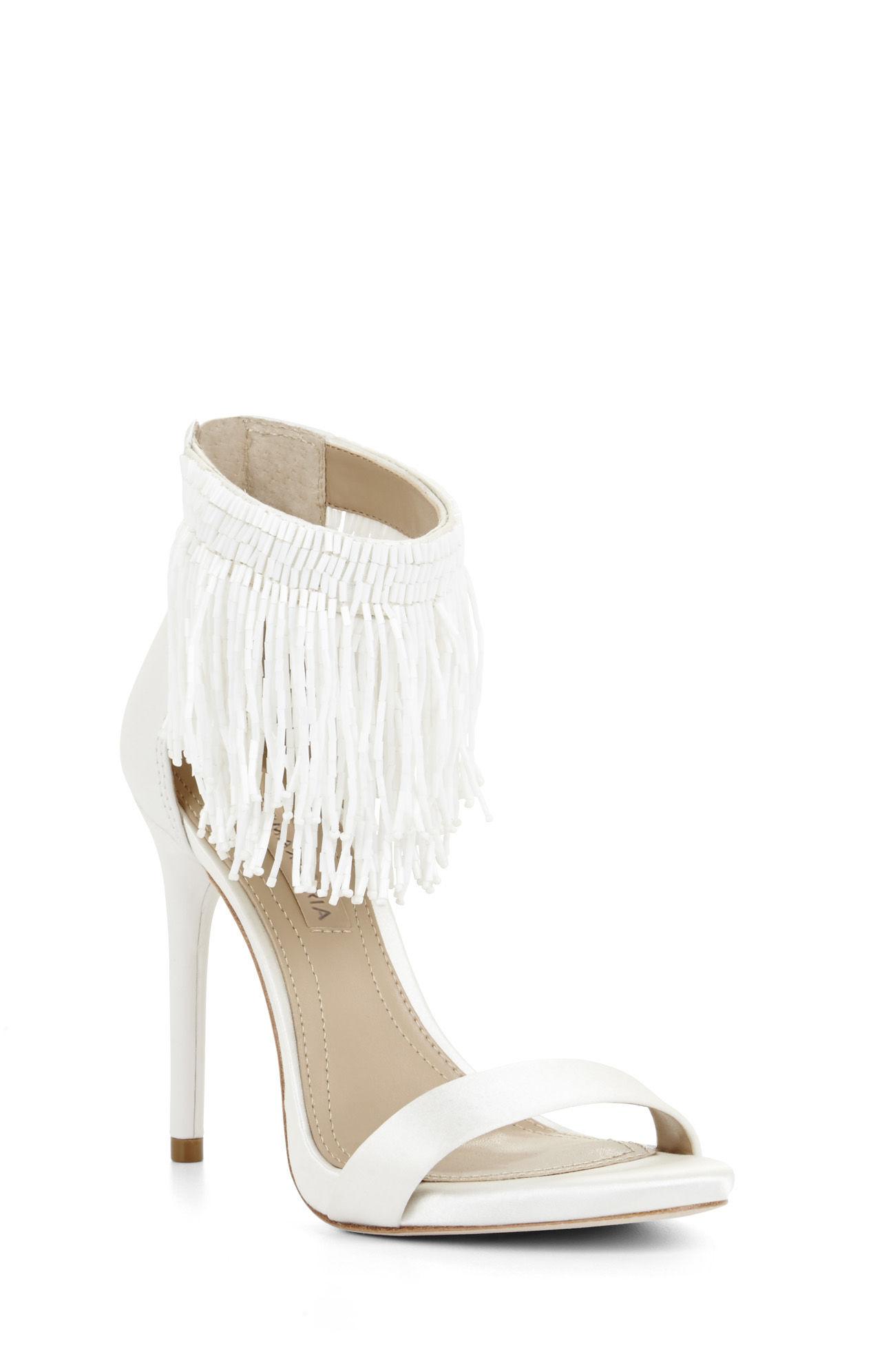 ffaf52126a51 Bcbgmaxazria Devine High-heel Beaded Ankle Dress Sandal in White - Lyst
