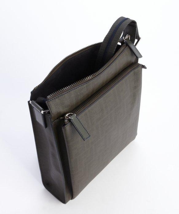 ... uk lyst fendi dark green leather zucca zip top messenger bag in green  15126 99c8c ... ce91b16243