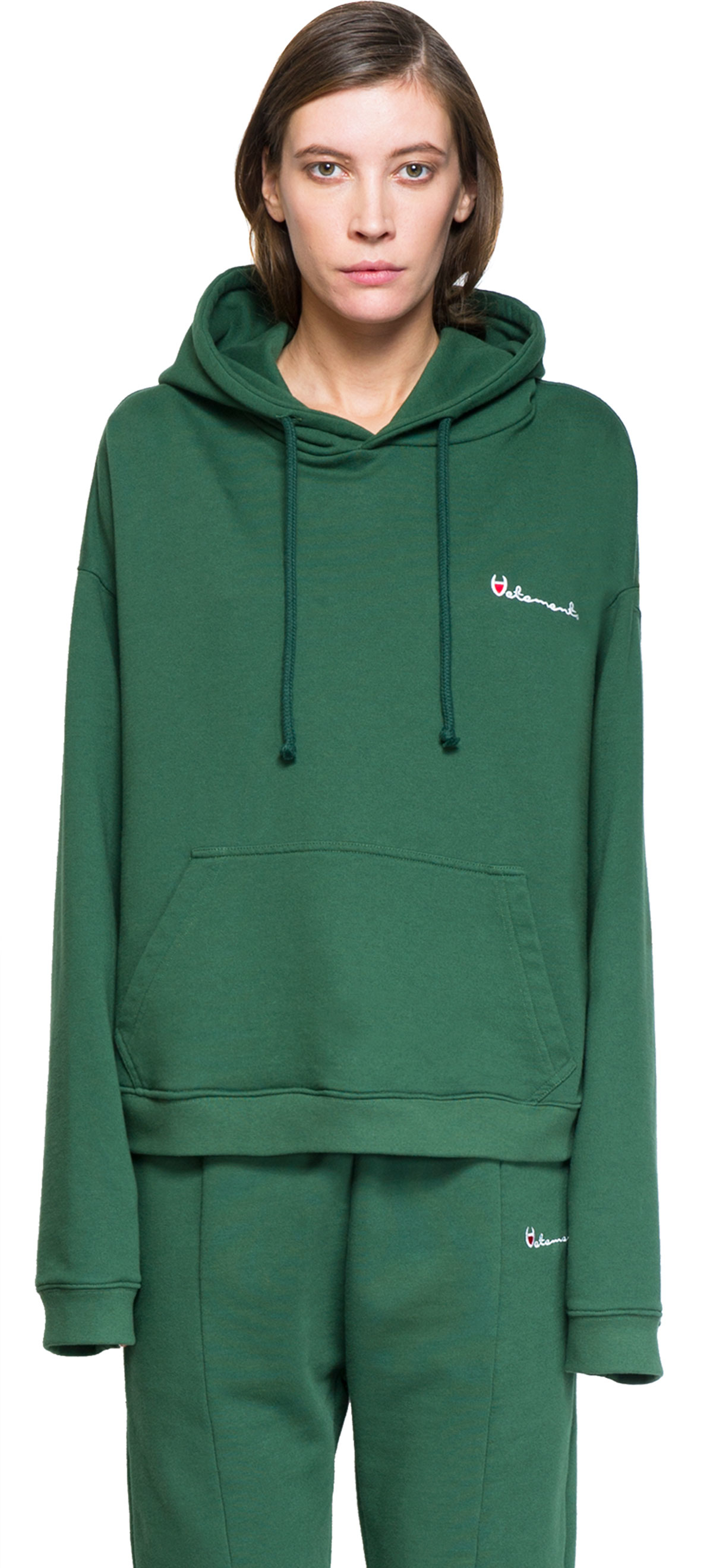 Vetements Hooded Sweatshirt in Green | Lyst