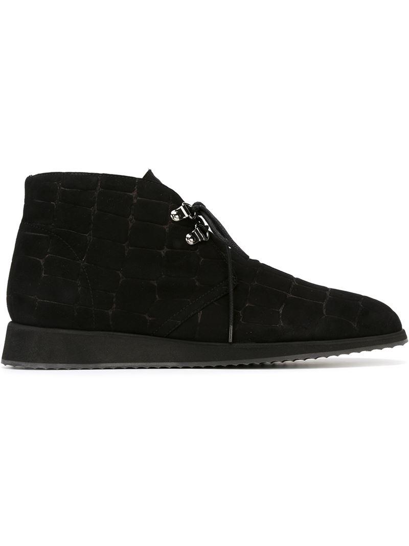 Giuseppe Zanotti Embossed Crocodile Effect Lace Up Shoes