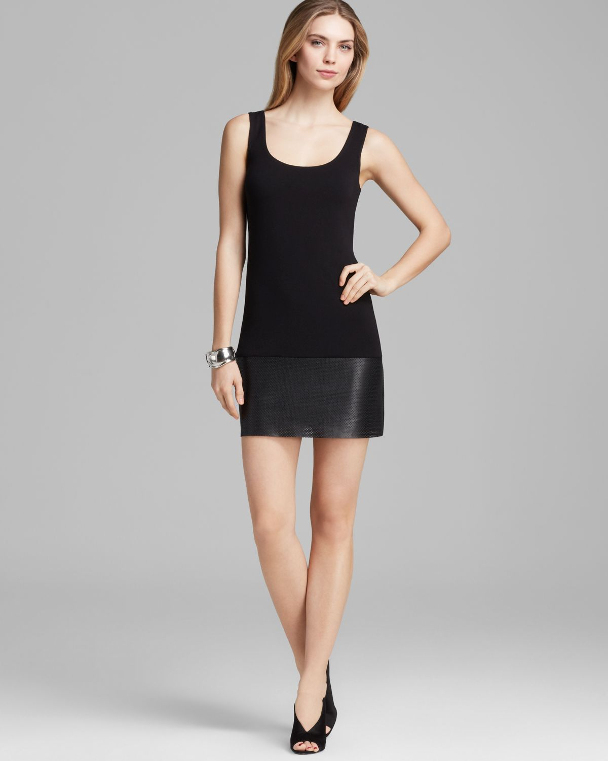 Bailey 44 Dress - Scoop Neck Tank With Perforated Faux Leather ...