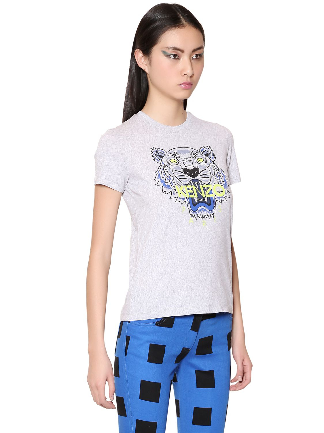 Lyst - KENZO Tiger Printed Cotton Tshirt in Gray 03095e3675f