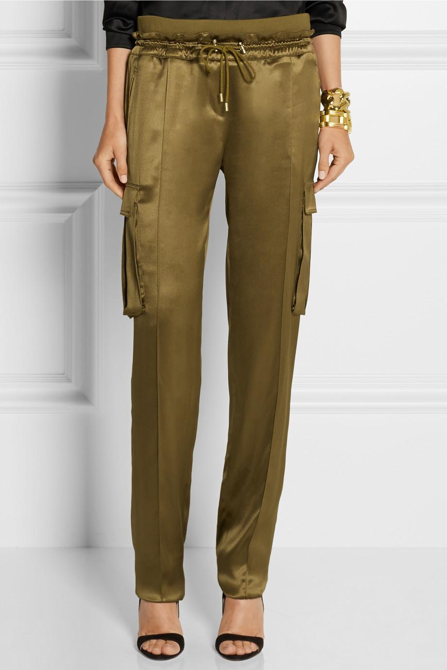 Balmain Silk-Satin Cargo Pants in Green | Lyst