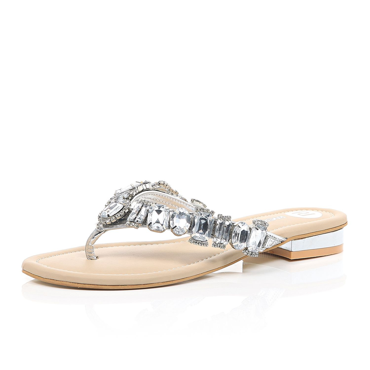 Silver Gemstone Embellished Sandals River Island