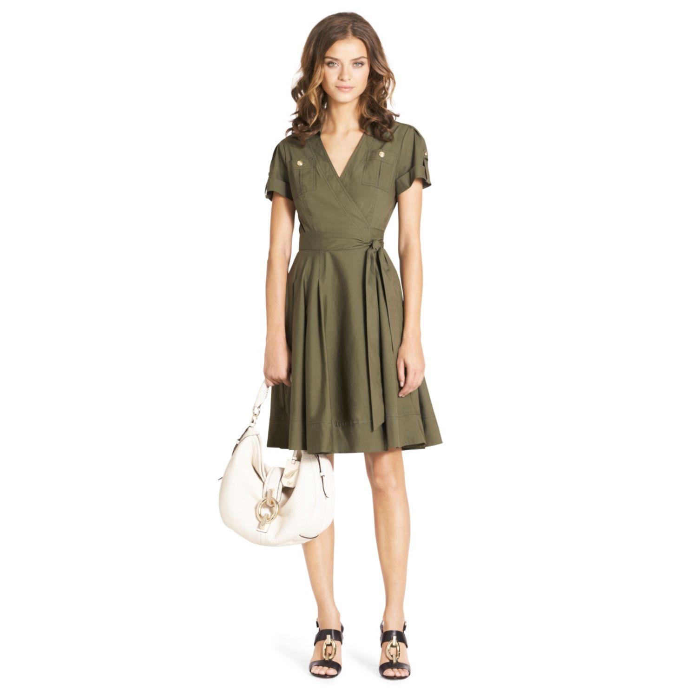 Diane Von Furstenberg Kaley Cotton Wrap Dress In Green