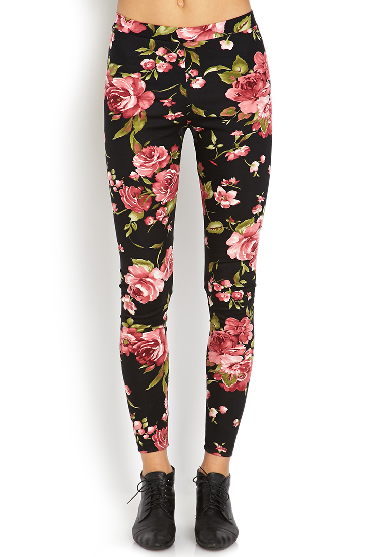 Lyst Forever 21 Sweet Floral Leggings In Black