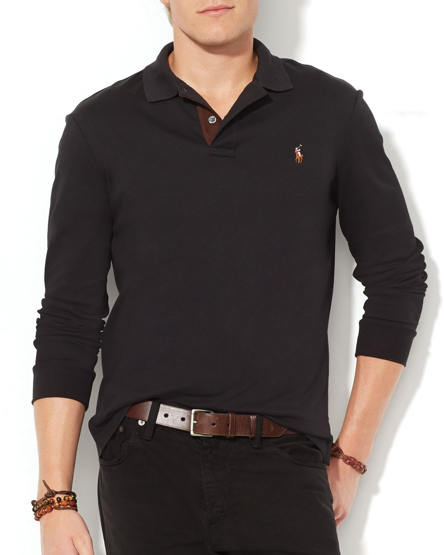 8d00e457cb9e Lyst - Ralph Lauren Polo Suede-Trimmed Pima Soft-Touch Polo Shirt ...