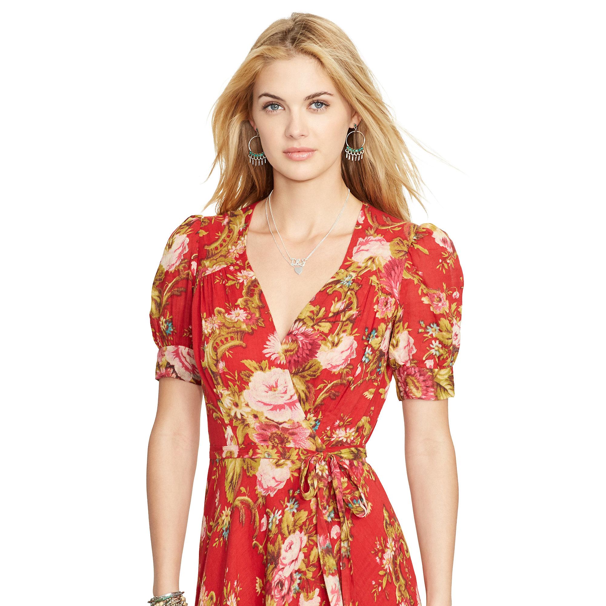 Lyst Denim Amp Supply Ralph Lauren Floral Wrap Dress In Red