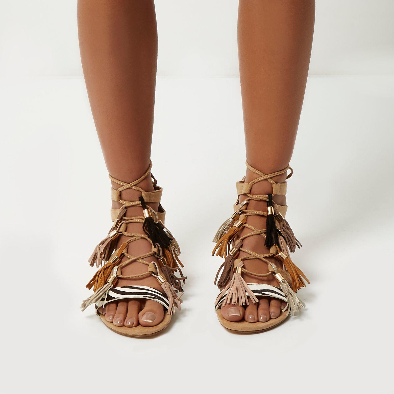 37589adee3b Lyst - River Island Nude Tassel Gladiator Sandals