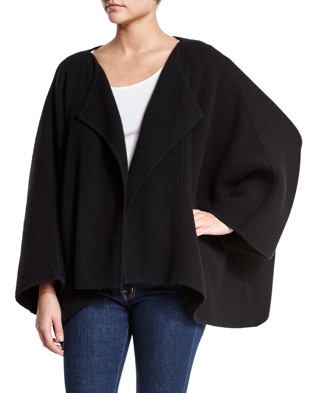 lyst donna karan boiled cashmere blend cape sweater in black. Black Bedroom Furniture Sets. Home Design Ideas