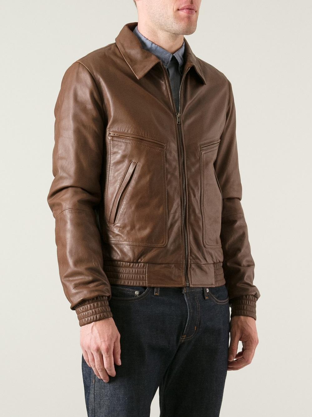 lyst dolce gabbana leather jacket in brown for men. Black Bedroom Furniture Sets. Home Design Ideas