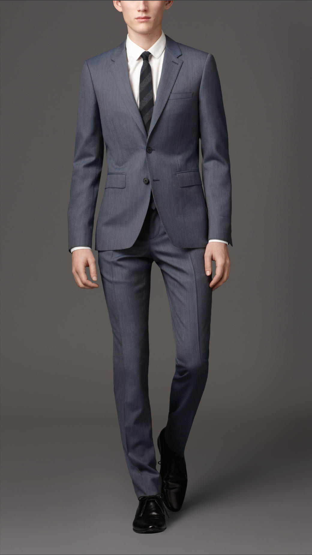 Burberry Slim Fit Wool Suit in Blue for Men | Lyst
