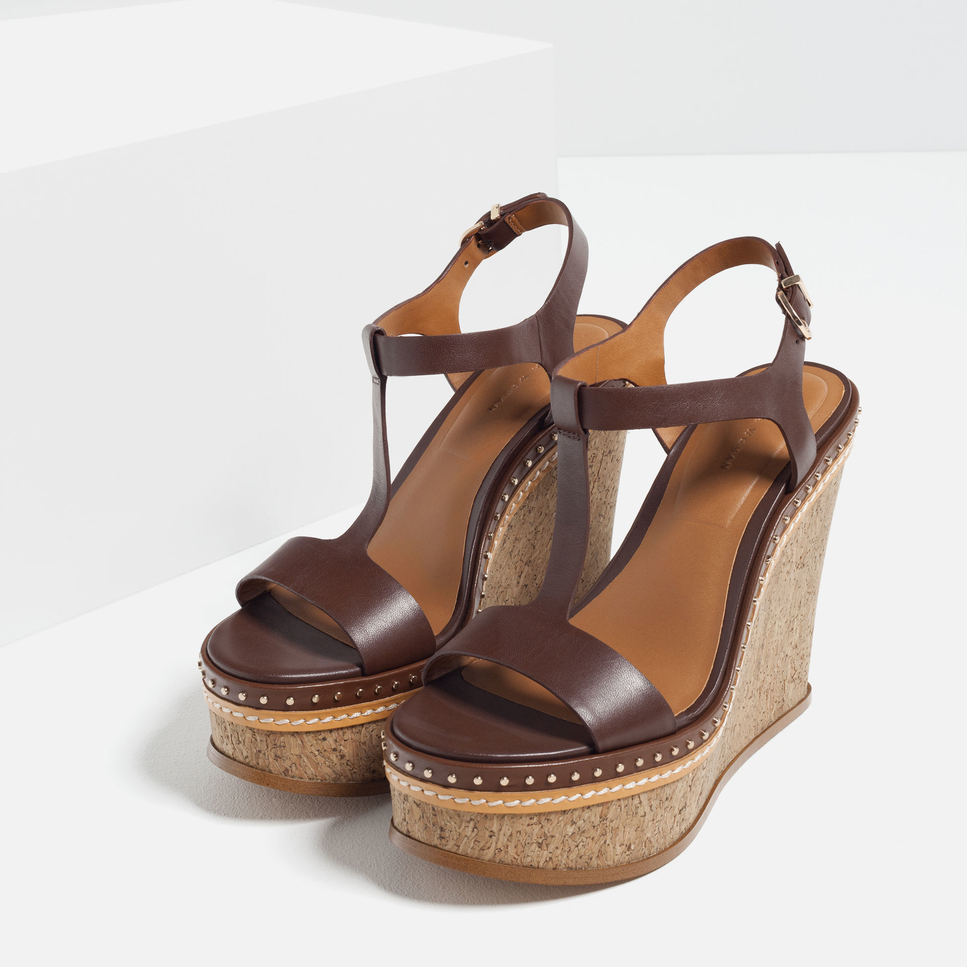 zara micro studded leather wedges in brown lyst