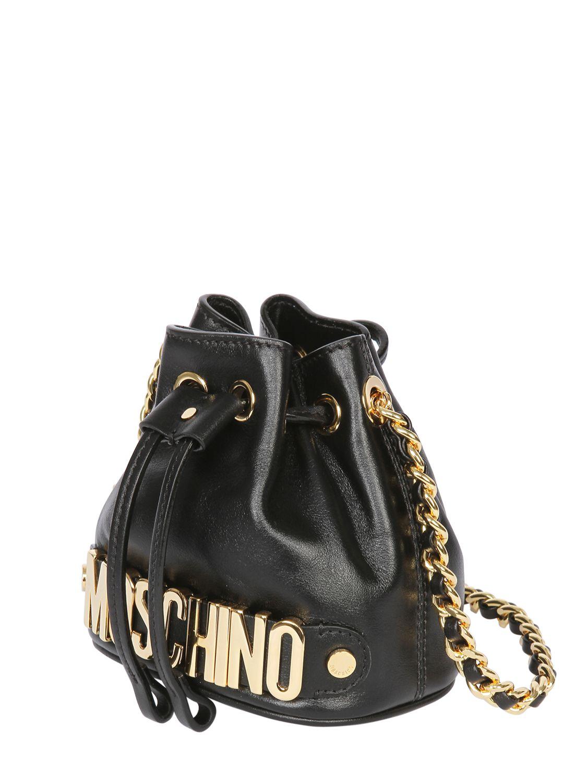 4b04306bbb4 Moschino Mini Leather Bucket Bag in Black - Lyst