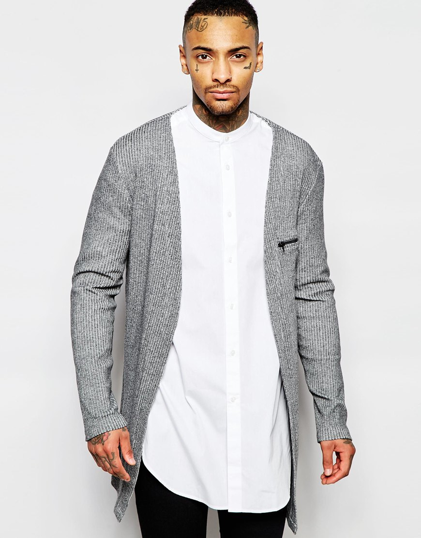 Asos Super Longline Cardigan In Rib With Zip Pocket in Gray for ...
