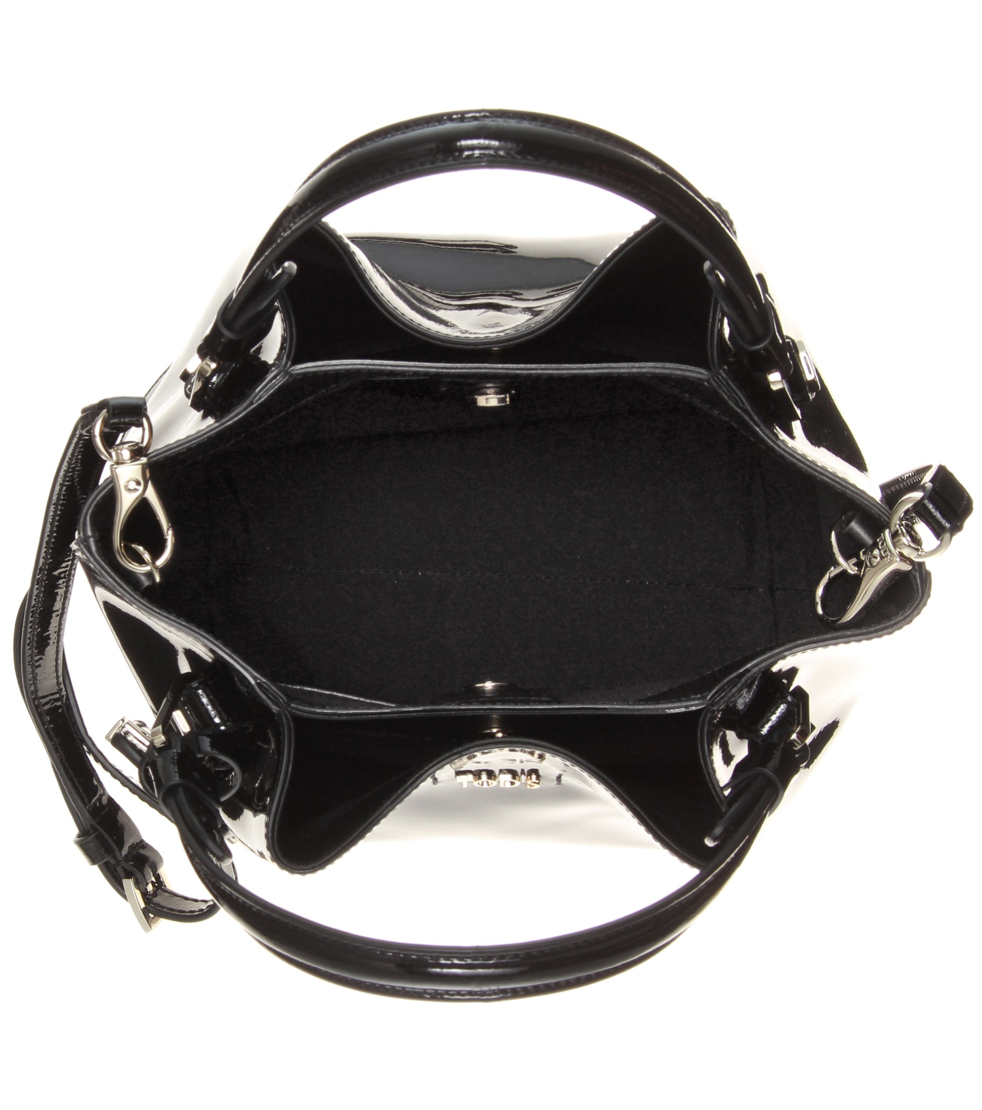 Tod s Flower Micro Patent-Leather Bag in Black - Lyst 3f1076a582300