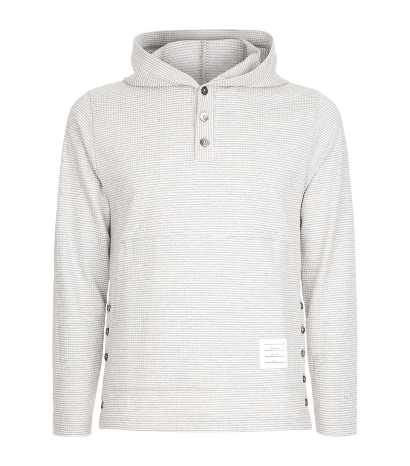Thom Browne Waffle Knit Hoodie In White For Men Lyst