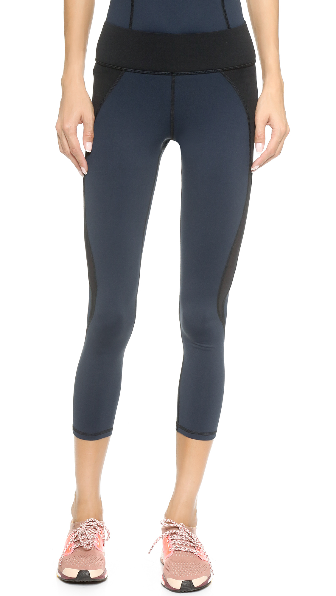 Navy Blue Cropped Leggings - Trendy Clothes