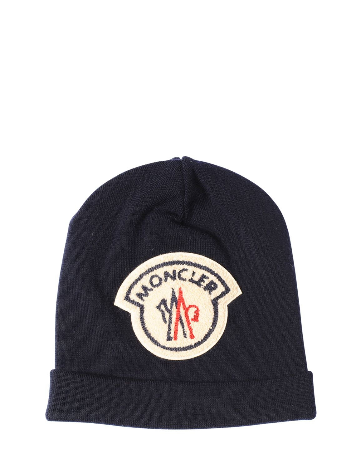 6dad508a829 Lyst - Moncler Ami Logo Patch On Wool Beanie Hat in Blue for Men