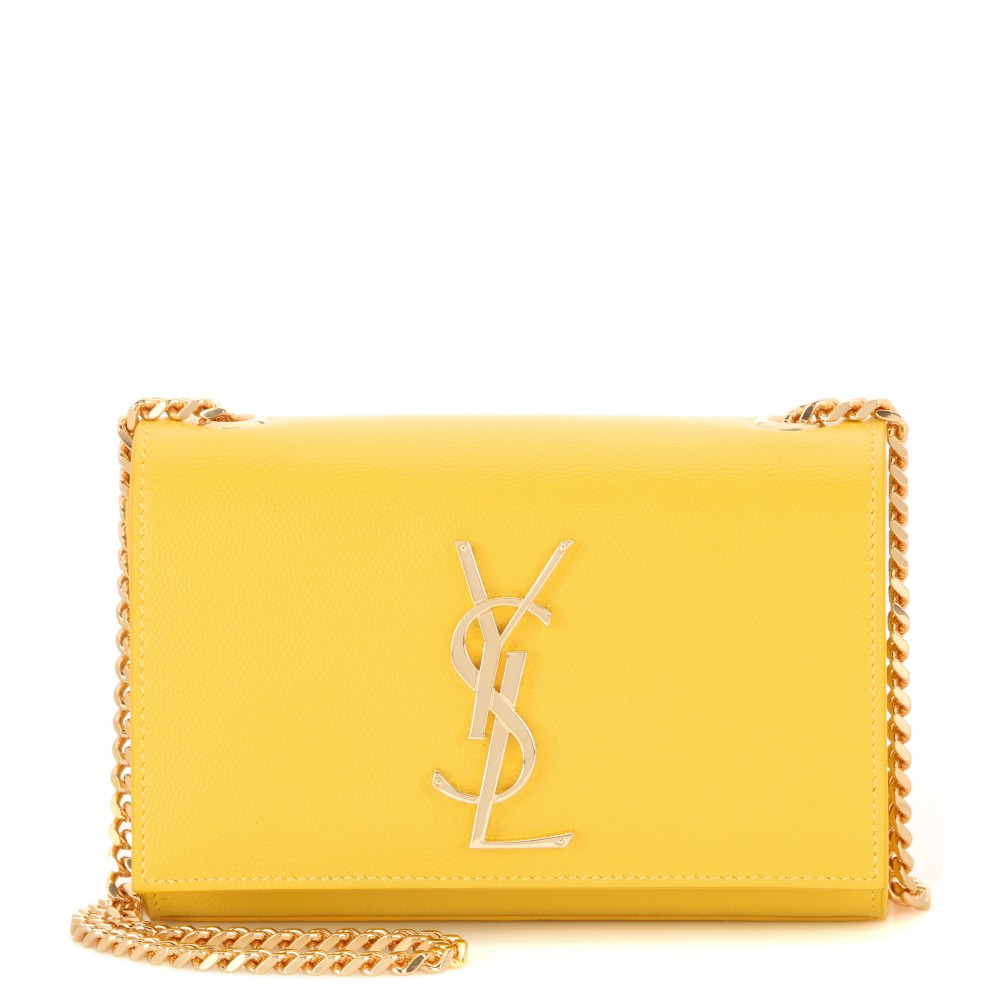 Saint Laurent Classic Monogram Leather Shoulder Bag in Yellow - Lyst 5a3cb92658faa