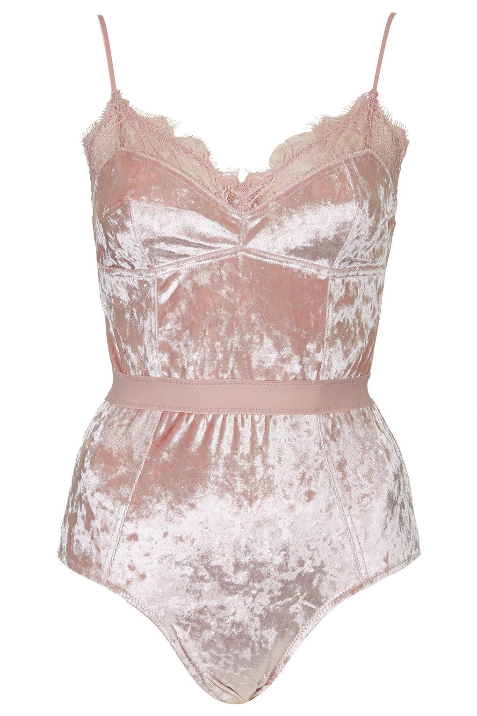 Topshop Velvet Body In Pink Lyst