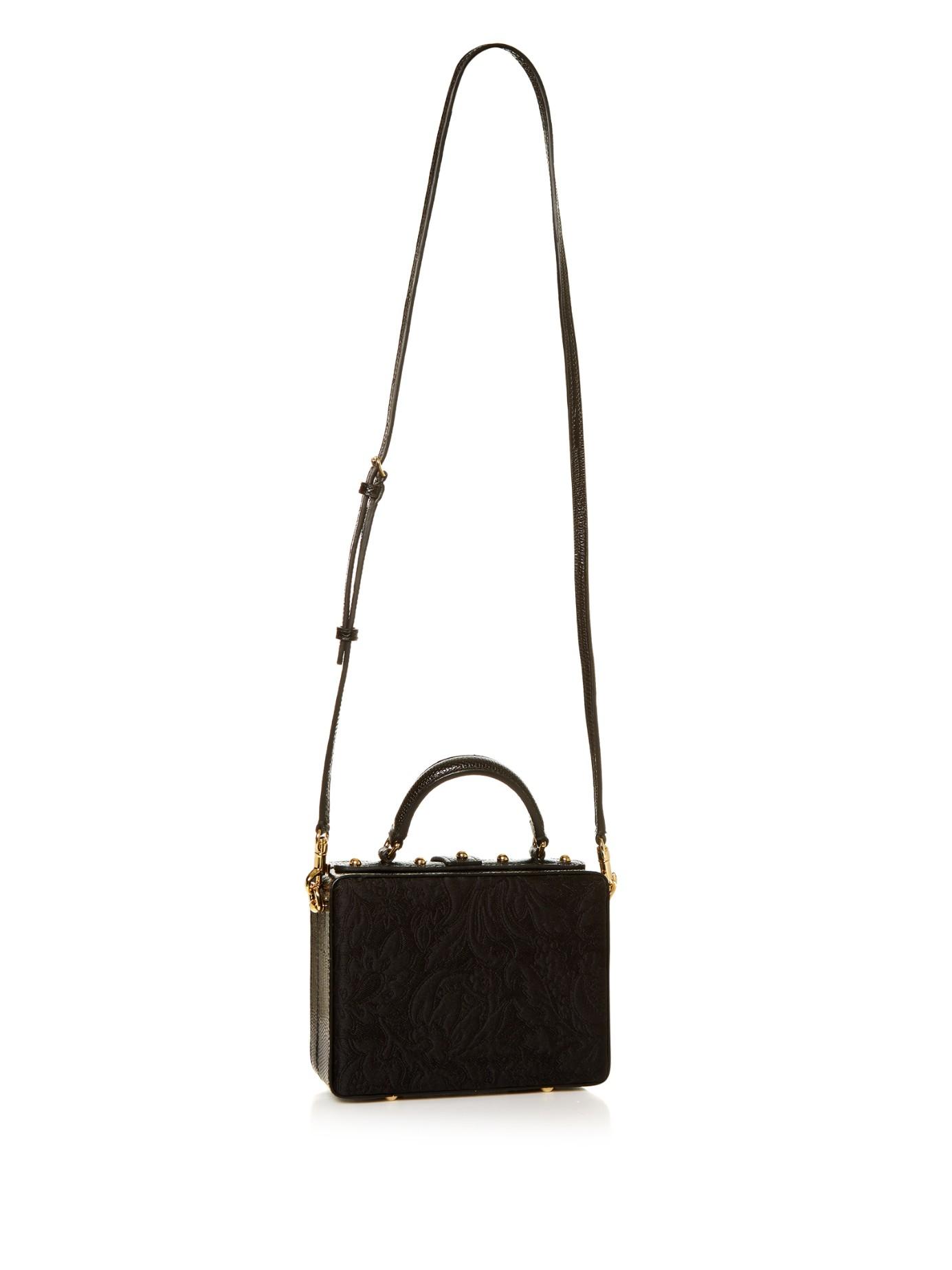 1070769711 Dolce   Gabbana Dolce Flower-embellished Brocade Box Bag in Black - Lyst