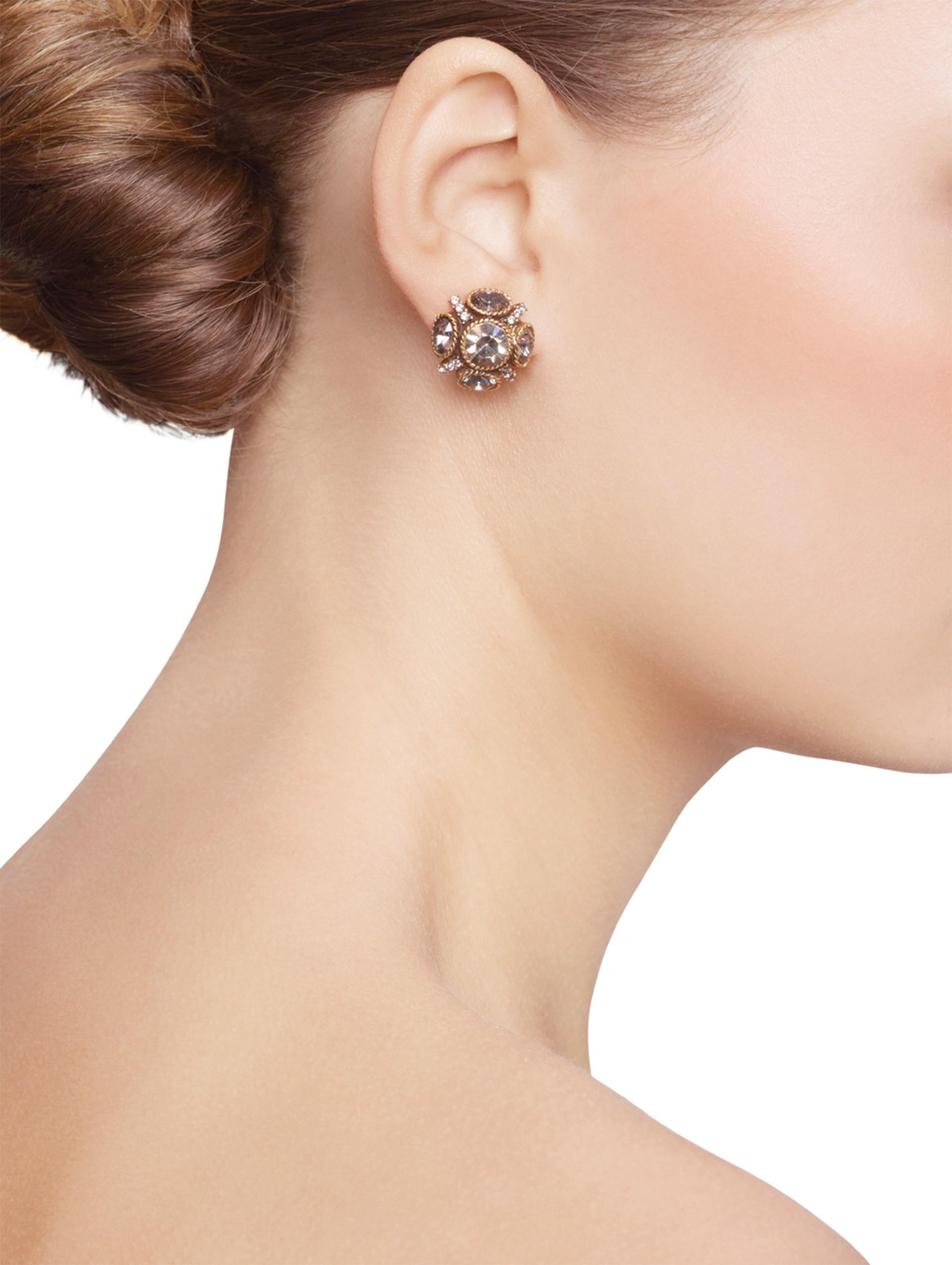 Oscar De La Renta Classic Crystal Button Earrings mscPOS