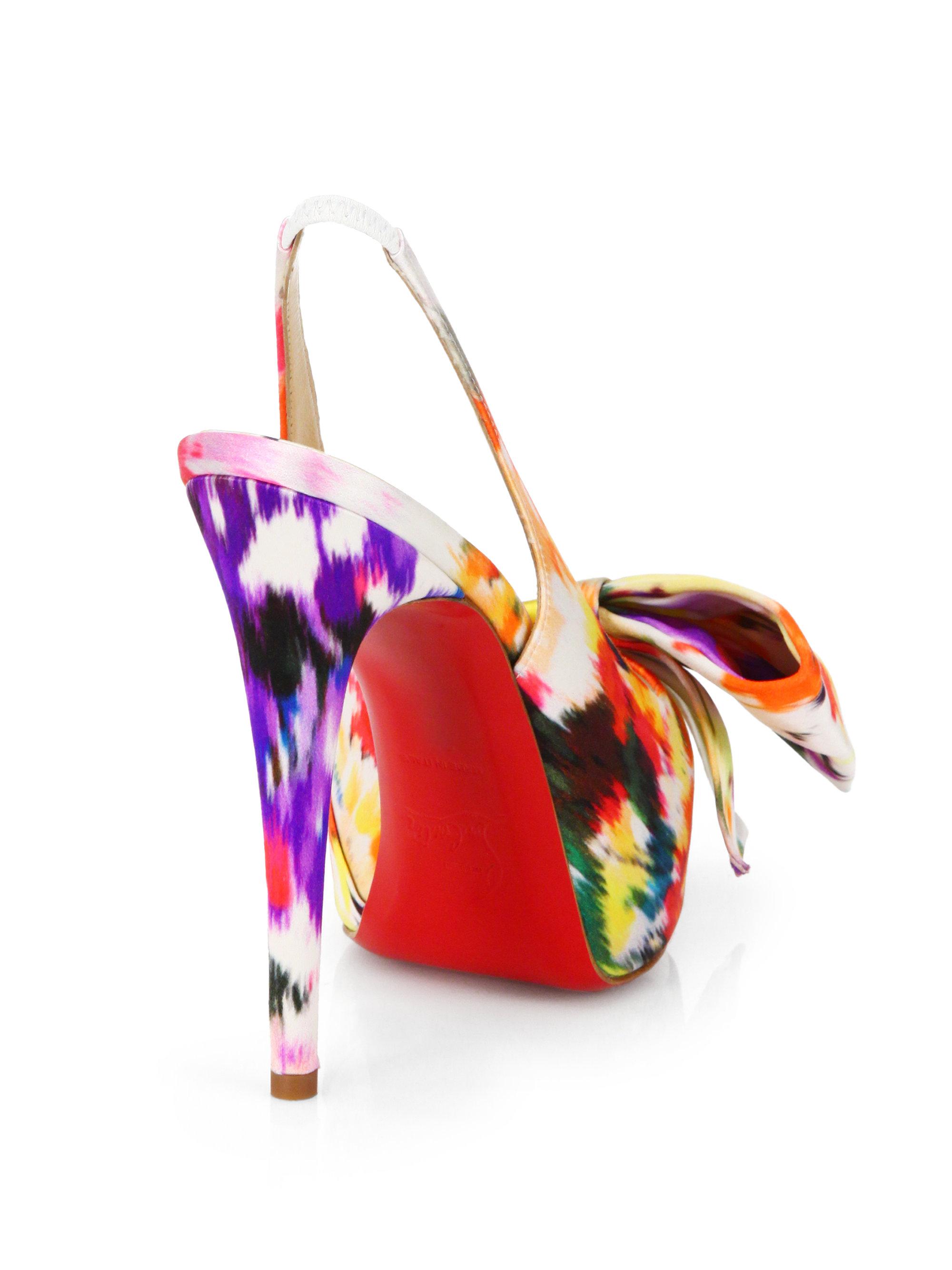 Christian louboutin Vendome Satin Slingback Pumps in Multicolor ...