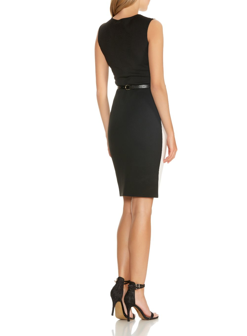 quiz black contrast peplum belt dress in black lyst