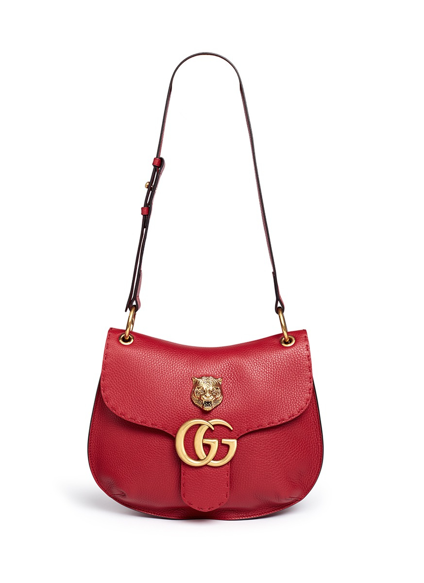 57b93b15d0e1 Gucci 'gg Marmont' Medium Brass Tiger Leather Shoulder Bag in Red - Lyst