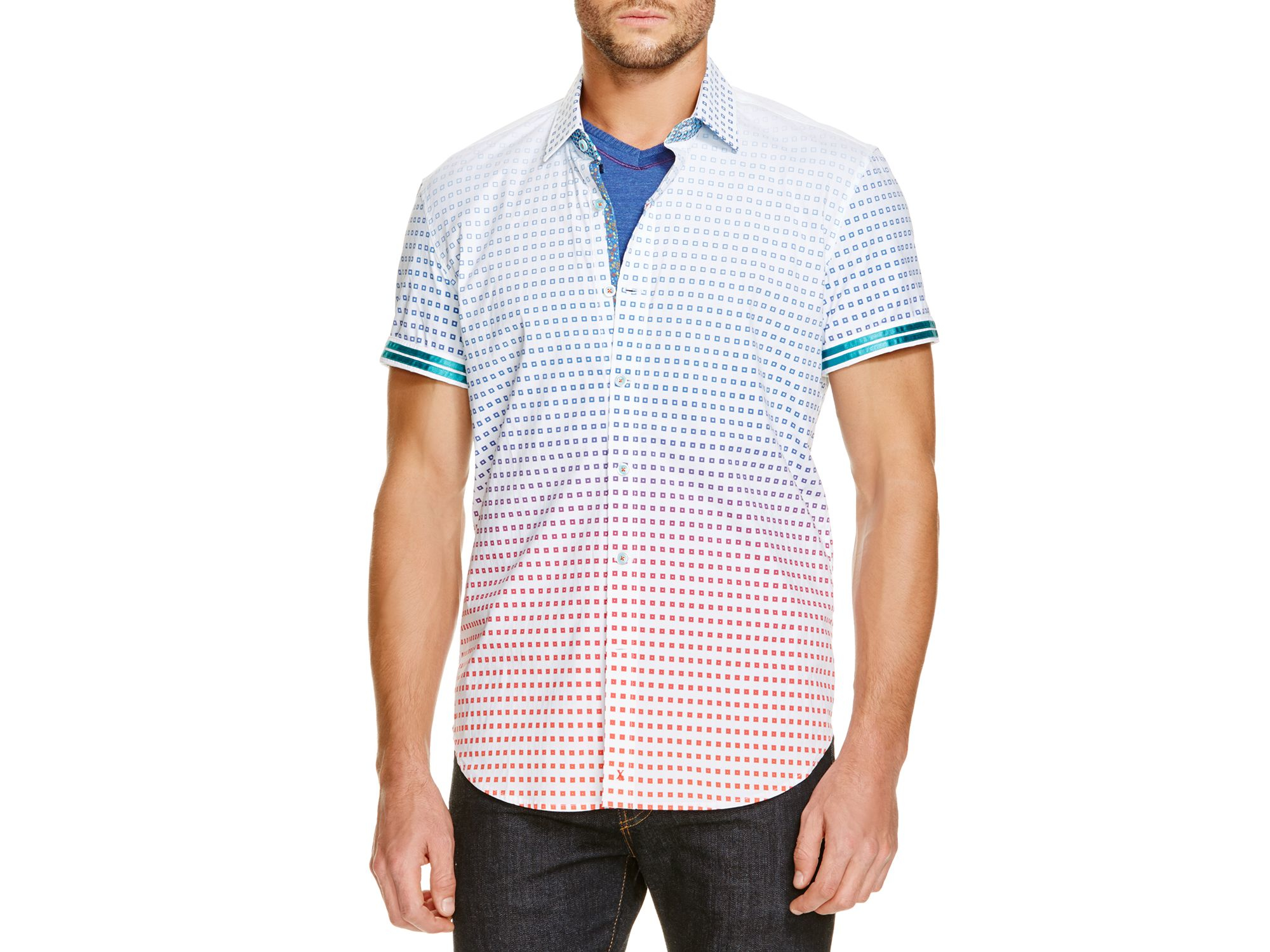 Lyst robert graham square print classic fit button down for Preppy button down shirts