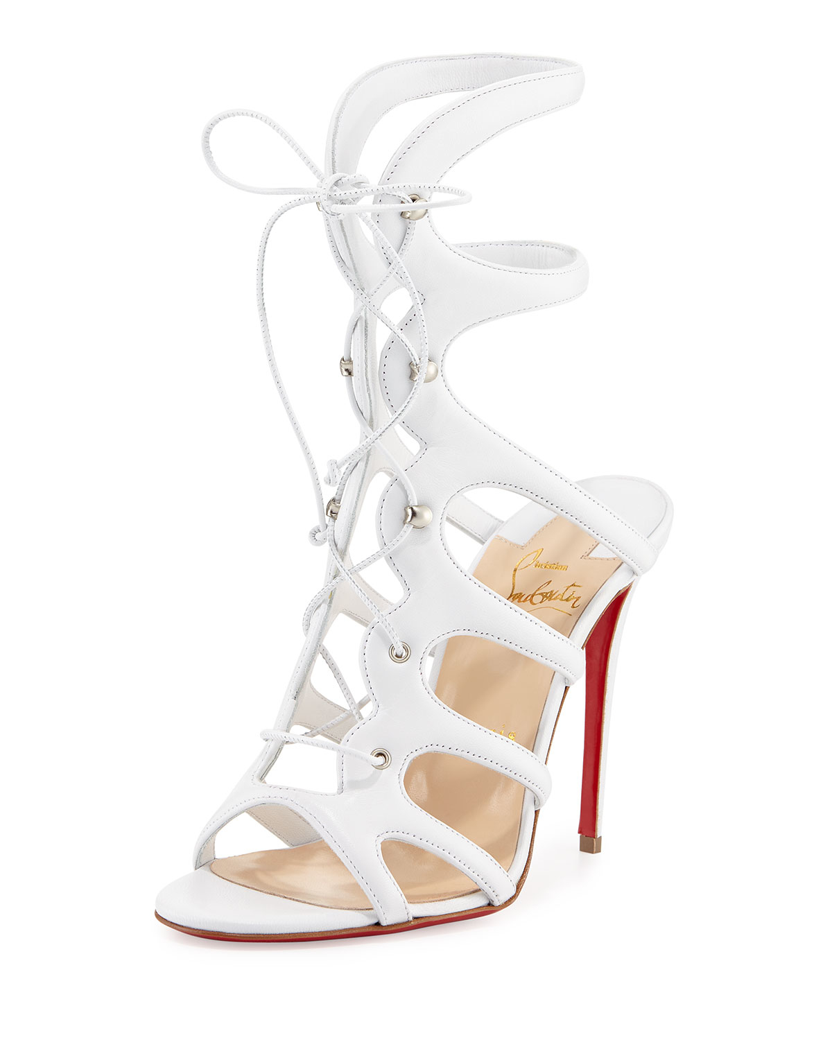 462ecbee1d2d Lyst - Christian Louboutin Amazoula Lace-up Red Sole Sandal in White