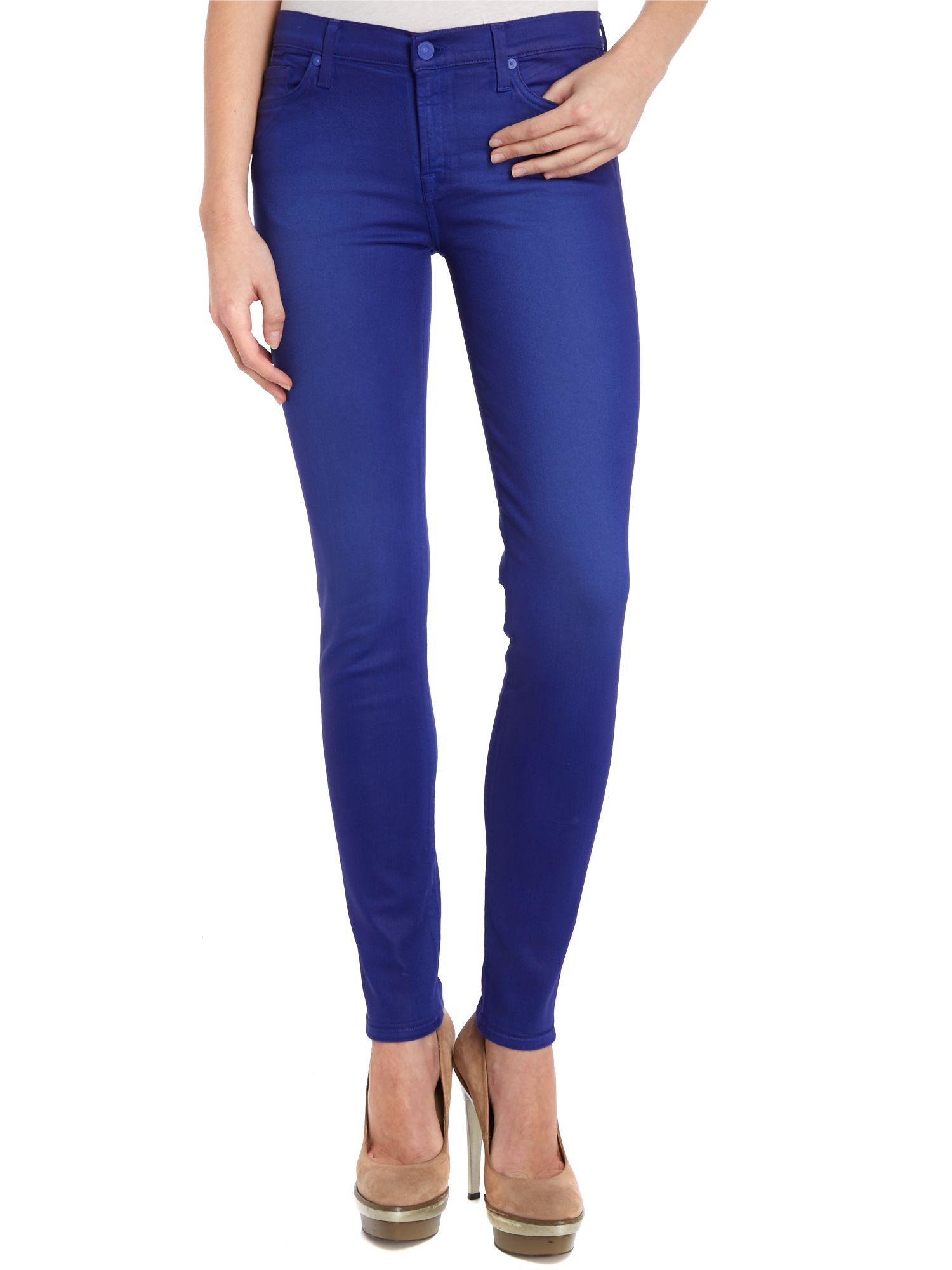 7 for all mankind The Skinny Coated Jeans in Royal Blue in Blue | Lyst
