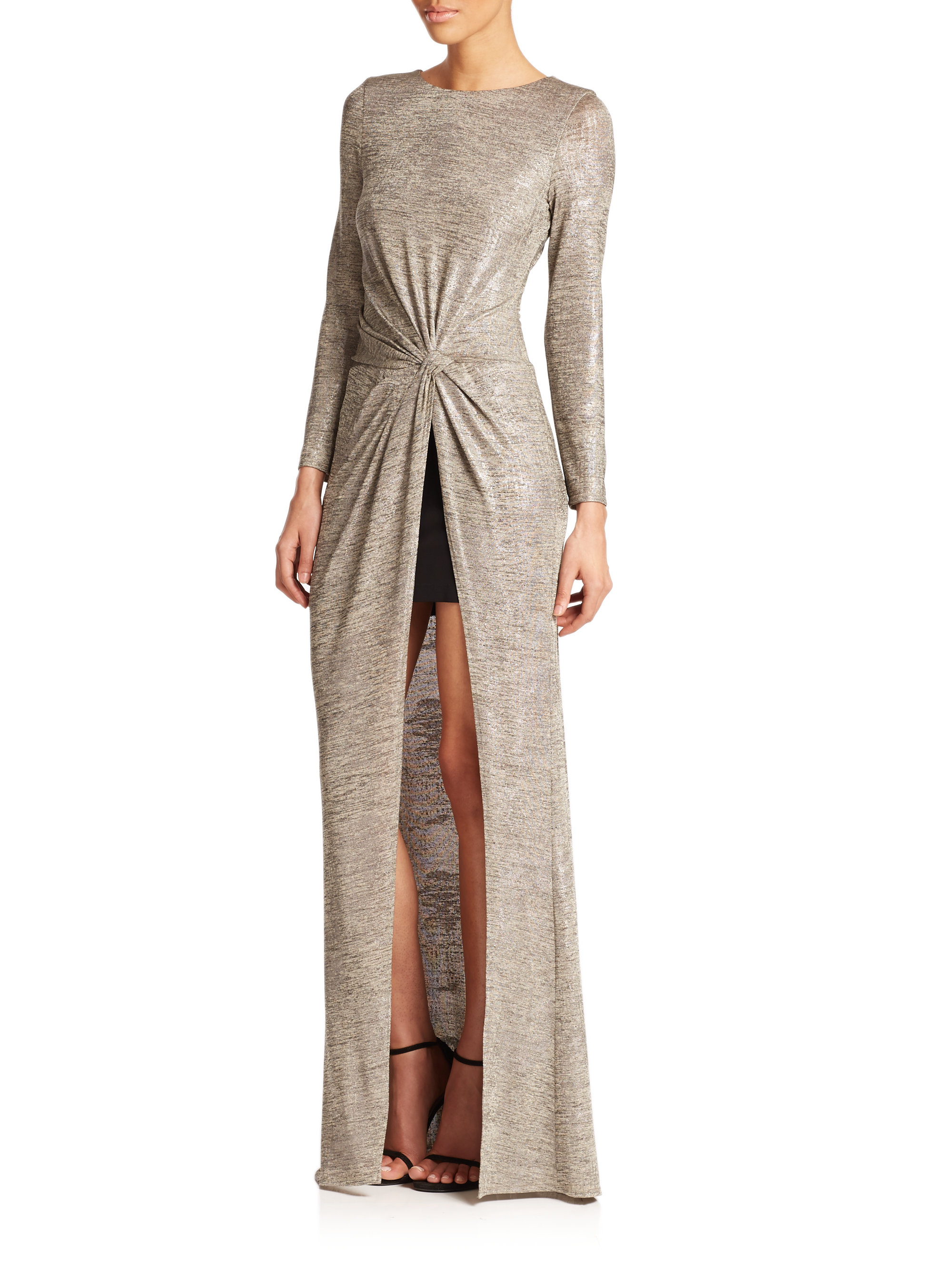 Lyst - Abs By Allen Schwartz Draped Front-slit Gown in Gray