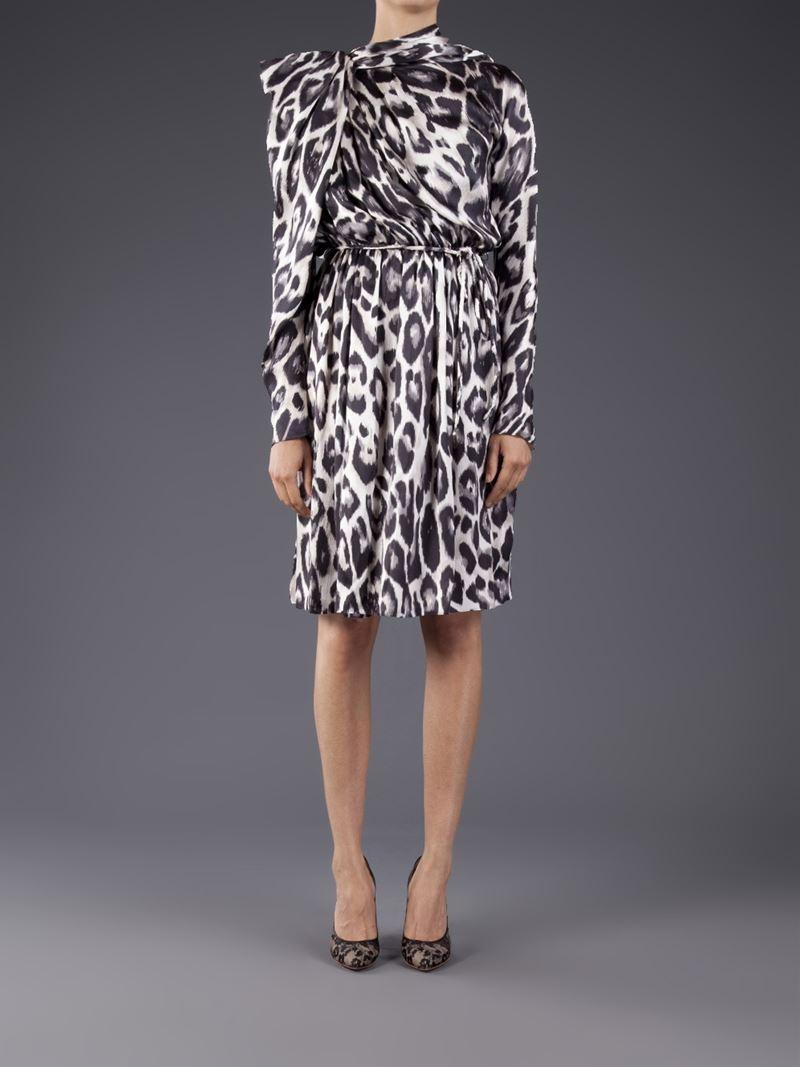 490f4446a5 Lanvin Leopard Print Flared Dress in Gray - Lyst