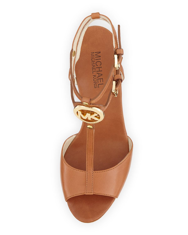 Lyst Michael Kors Keely Logo Wedge Sandal In Brown