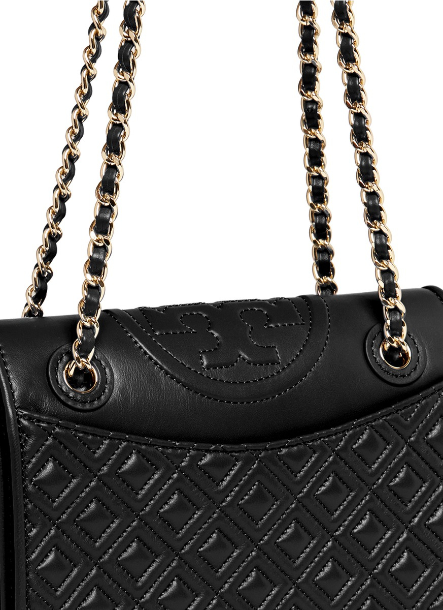 7b86edeff0b7 Lyst Tory Burch Fleming Medium Quilted Leather Bag In Black. Fleming  Convertible Shoulder Bag