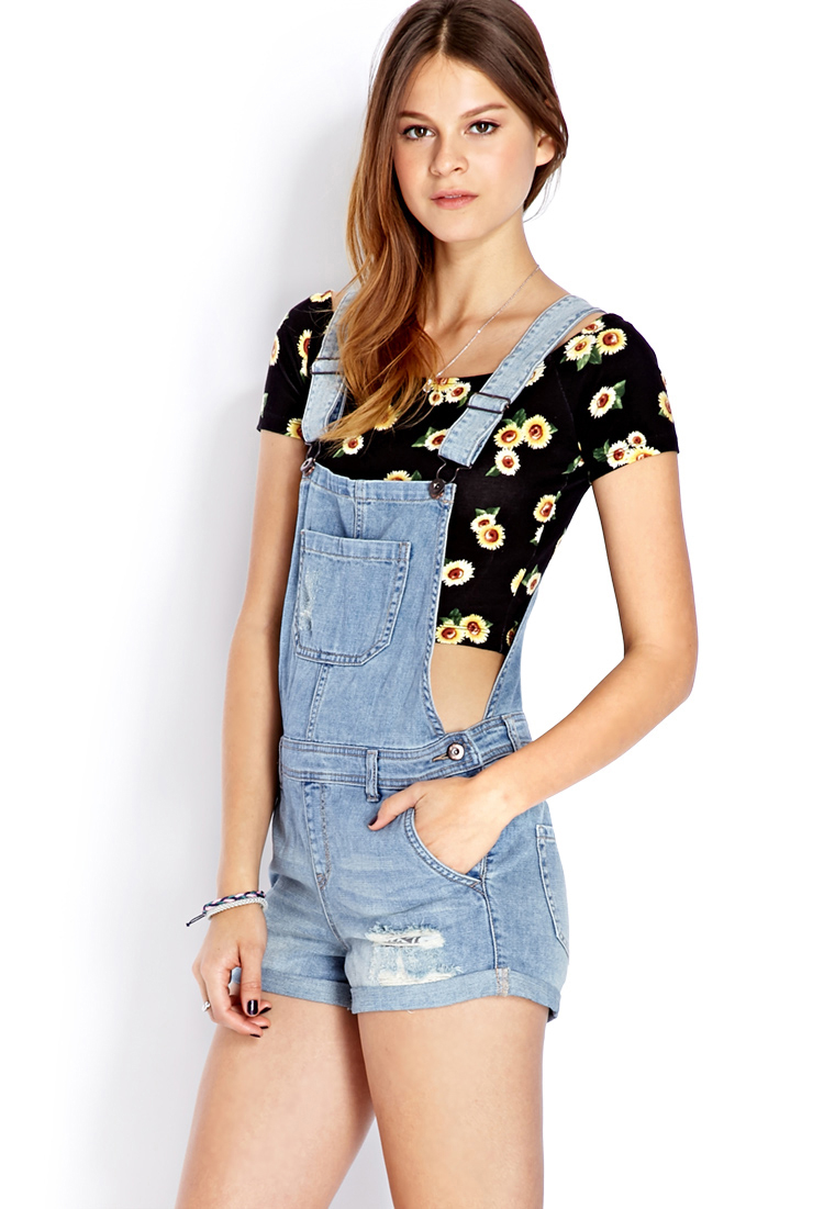Lyst Forever 21 Blue Jeans Babe Overall Shorts In Blue