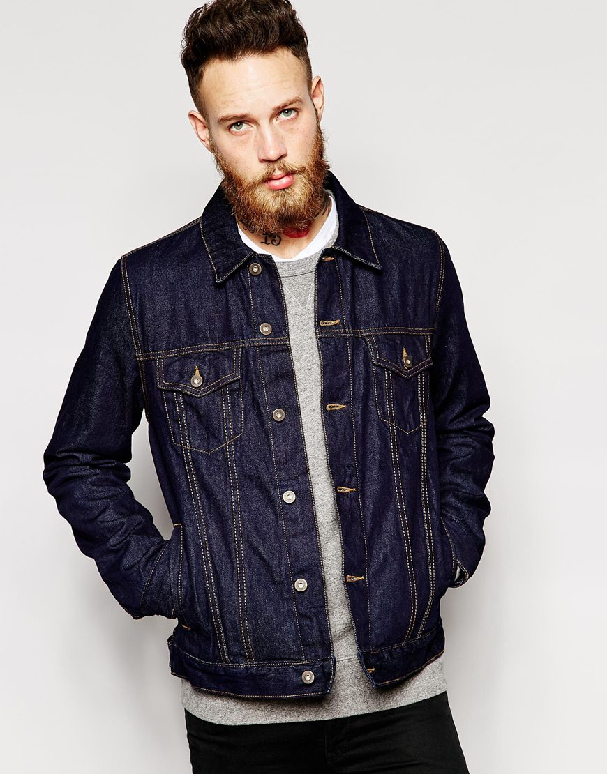 Lyst - ASOS Denim Jacket In Slim Fit in Blue for Men 18a2f79e462e