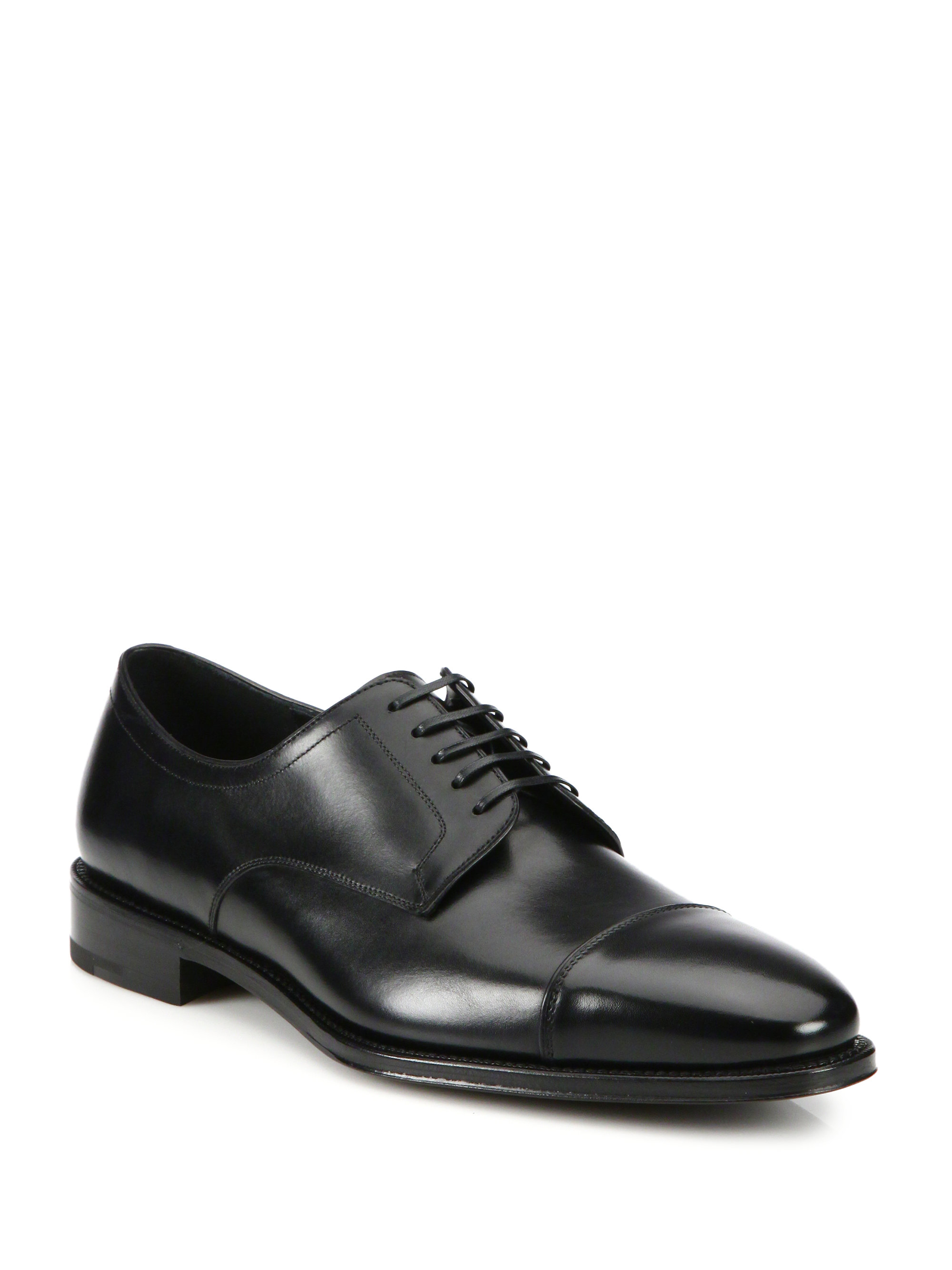 ferragamo mabel cap toe leather lace up shoes in black for
