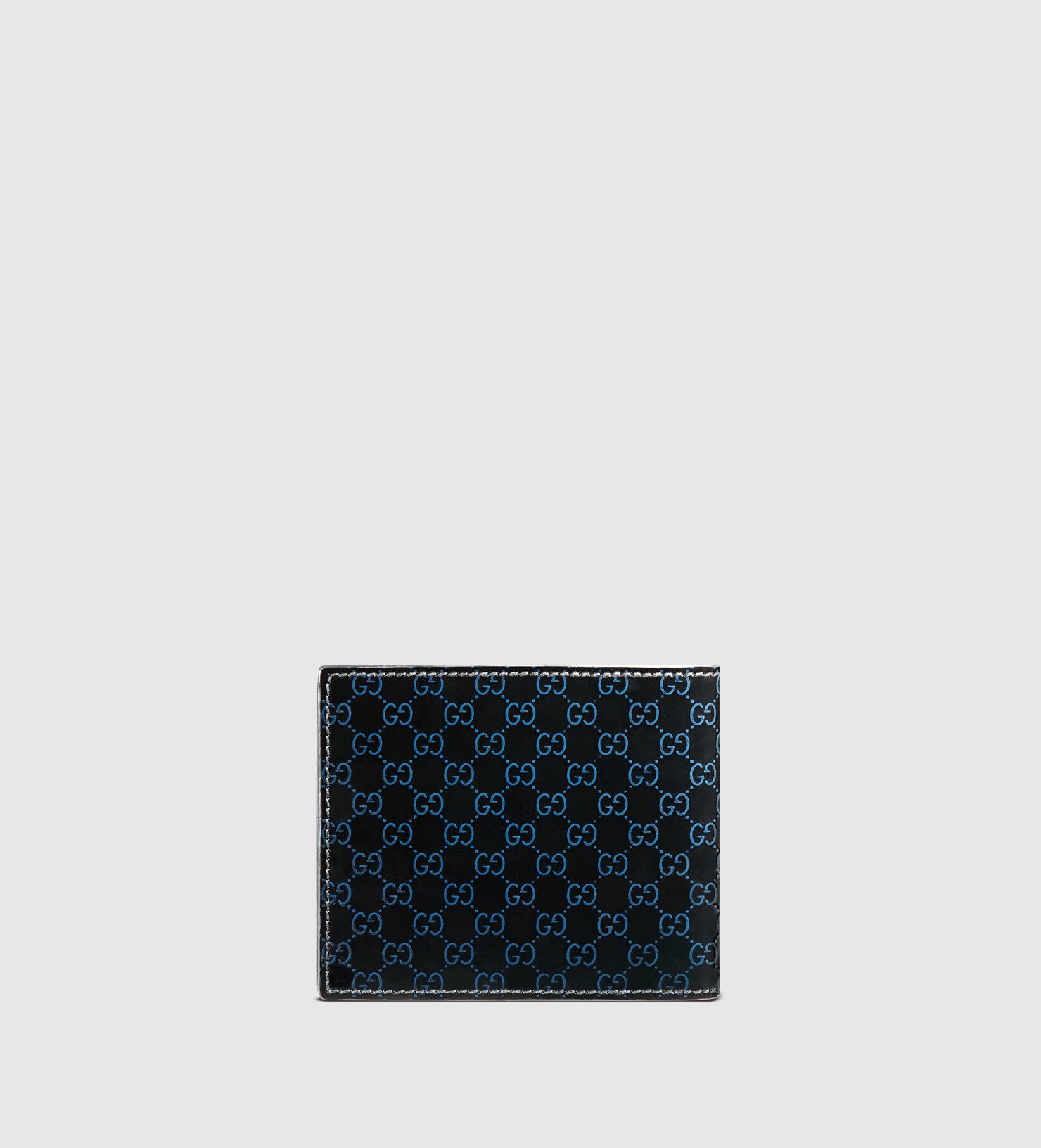 61f4de27c1a Gucci Microssima Patent Leather Bi-fold Wallet in Black - Lyst